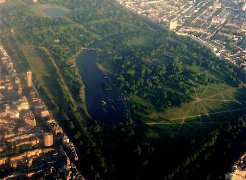 Hyde Park gezien vanuit de lucht
