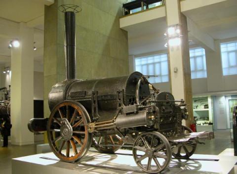 Een van de eerste stoomlocomotieven ter wereld